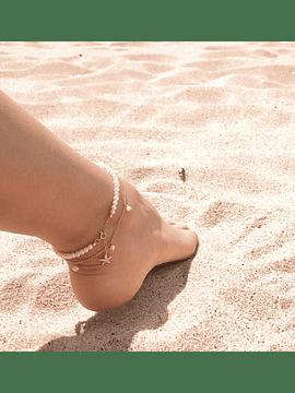 Pulseira tornozelo   pérolas