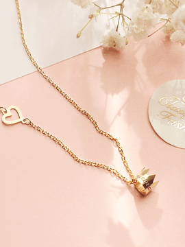 Crown + heart necklace