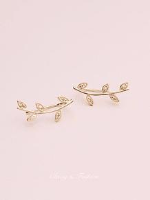 Brincos leaf com zircónias