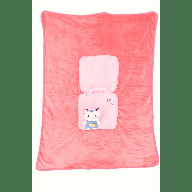 Frazada Cartera Gato rosado