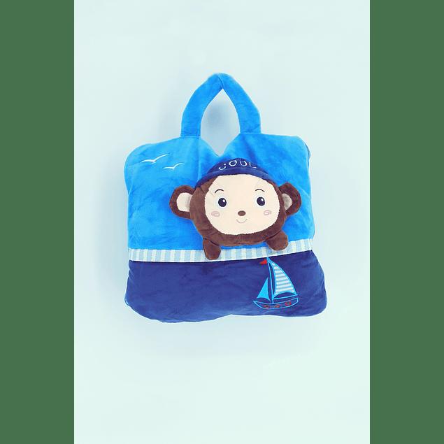 Frazada cartera Mono azul