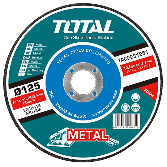 Disco Desbaste P/ Metal Abrasivo 125mm X 6mm Total