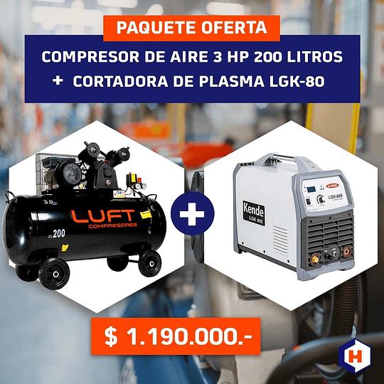 Oferta:  Compresor de Aire 200 litros 3HP+ Cortadora de Plasma LGK-80