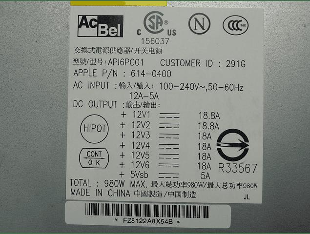 Fuente de Poder Apple MACPRO / A1186 / 3.1 / 2.1 / 1.1 / A1186 2008 / 614-0400  / 980Watts / AcBel