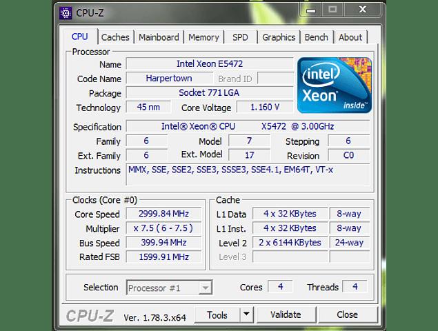 CPU Par Identico de Intel Quad-Core Xeon X5472 CPU 3.0GHz 12M 771 1600MHz SLBBB Server CPU Processor