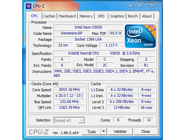 CPU Intel Xeon X5650 6-Core 2.66GHz 12MB 6.4GT/s LGA1366 SLBV7 Server CPU Processor