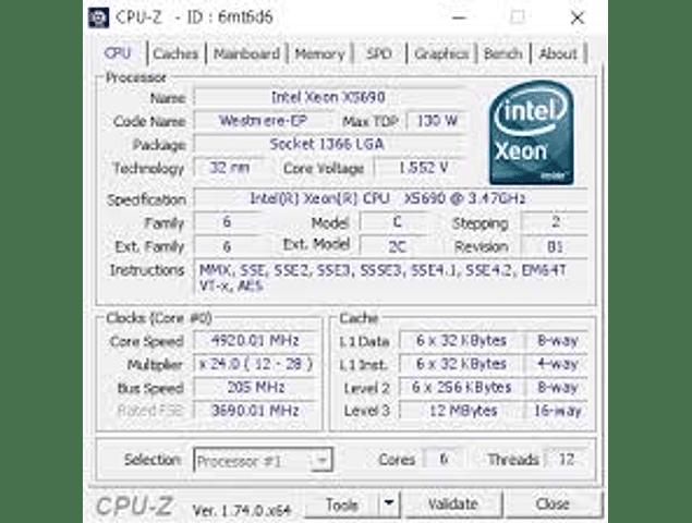 CPU Intel Xeon X5690 6-Core 3.46GHz 12MB 6.4GT/s LGA1366 SLBV7 Server CPU Processor