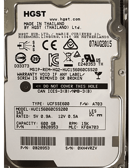 "Disco Duro SAS 600GB Hitachi 15K SAS 2.5"" 12Gb/s 0B28953 . _Dell compatible HUC156060CSS200 Enterprise Class Calidad Empresarial"