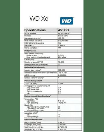 "Disco Duro SAS 450GB WD 2.5"" XE WD4501BKHG HHD 10K RPM 32MB 15mm Enterprise Class Calidad Empresarial Nuevo"