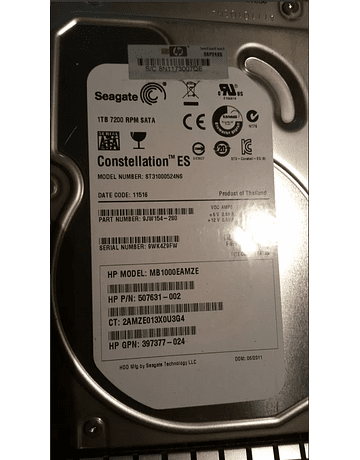 "Disco Duro SATA 1.Tb HP 7200rpm 3.5"" SATA 7200RPM 6.0Gb/s HP 454273-001"