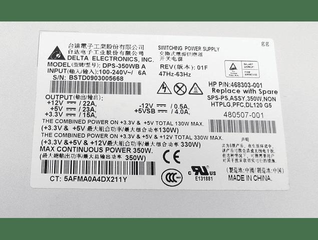 Fuente de Poder Hp 350 Watts 480507-001 468303-001 DL320 G5 Power Supply DPS-350WB