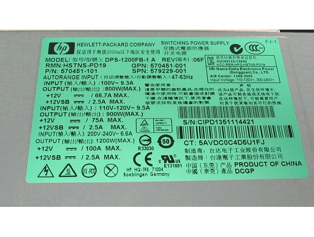 Fuente de poder HP 1200W Power Supply  579229-001 570451-001  DPS-1200FB-1 A