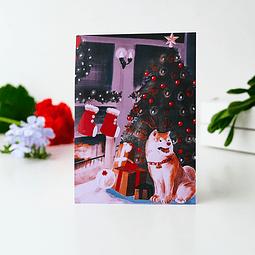 Postal navideña shiba
