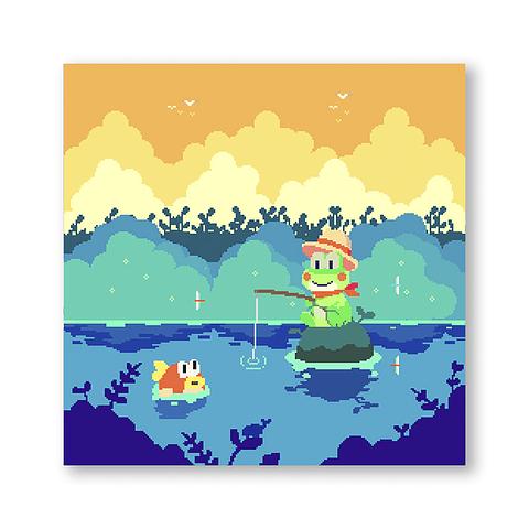 Print Fishing and waiting