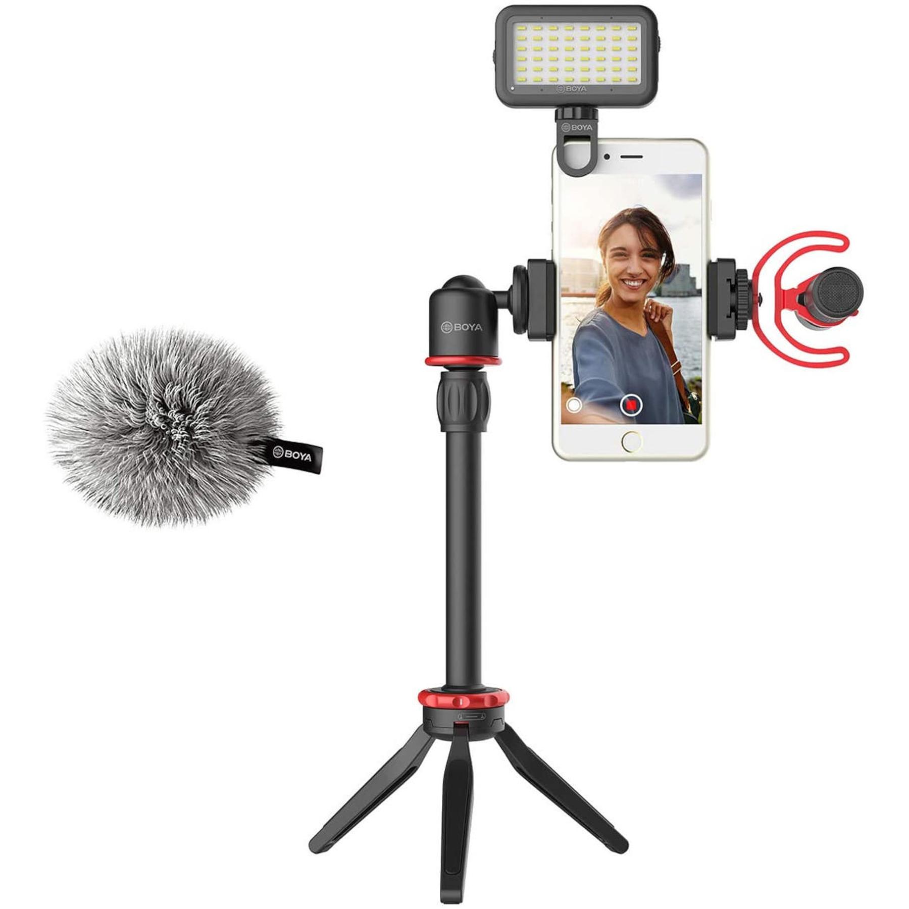 Kit Microfono Celular on Tripode y Luz Led Boya BY-VG350