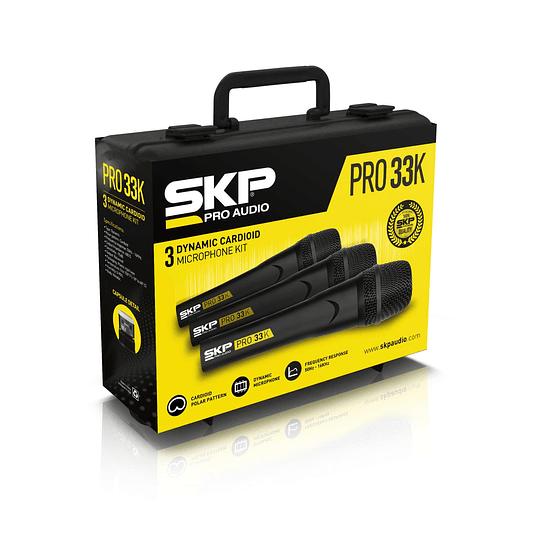 Set de 3 Microfonos Dinamicos SKP PRO-33K