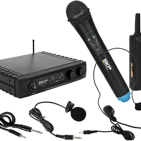 Microfono de Solapa + Cintillo + Mano SKP UHF-271