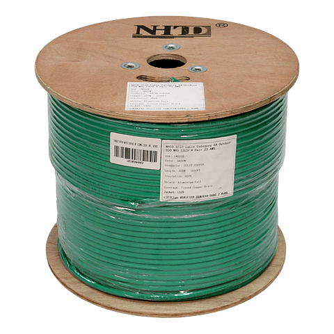 Cable SFTP Cat 6A NHTD 305m 4 Pares 23AWG LSZH Blindado con Malla Verde