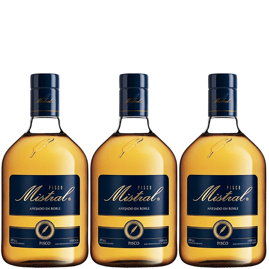 Pack 3x Pisco MIstral 35° 1.000cc