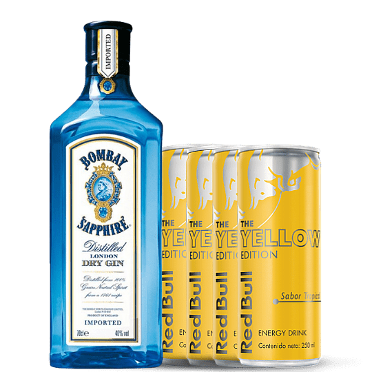 Pack Gin Bombay + Four Pack Tropical Red Bull