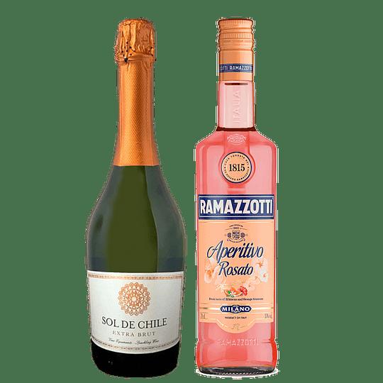 Pack Ramazzotti - Sol de Chile: Ramazzotti Rosato 700cc + Espumante Sol de Chile Extra Brut 750cc