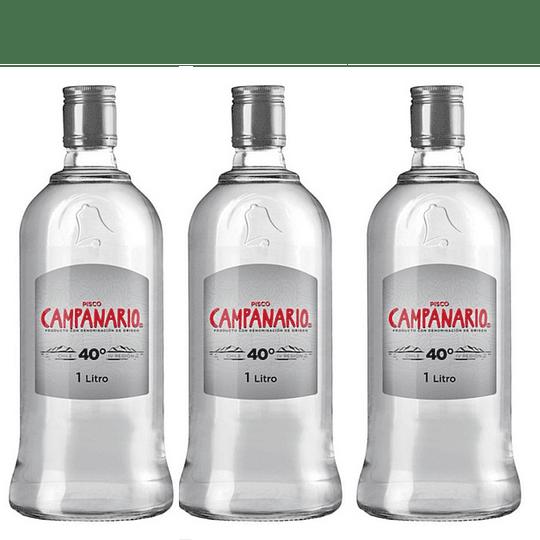 Pack 3x Pisco Campanario 40° Transparente 1 Litro ($3.990 c/u)