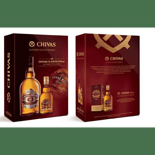 Whisky Chivas Regal 12 años 750cc + Petaca Chivas Extra 200cc