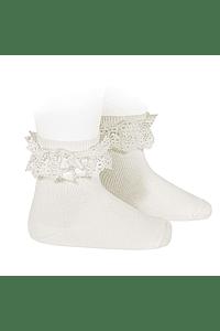 Calcetines cortos con puntilla y lazo