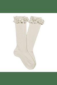 Calcetines altos con puntilla y lazo