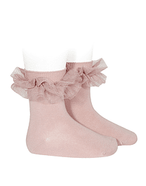 Calcetines cortos punto liso con tira tul fruncido