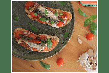 Bruschetta com sardinha picante