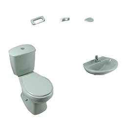 Combo laguna 4.8 verde claro con lavamanos sin pedestal con asiento - Corona