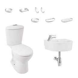 Combo aquapro redondo blanco con lavamanos de colgar - Corona