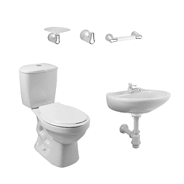 Combo laguna 4.8 balta blanco con lavamanos sin pedestal con asiento - Corona