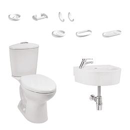 Combo aquapro alongado blanco con lavamanos de semipedestal - Corona