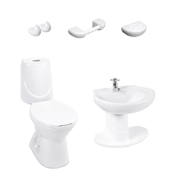 Combo happy II 4.8 con lavamanos de semipedestal blanco - Corona