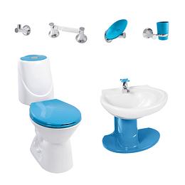 Combo happy II 4.8 con lavamanos de semipedestal azul marino - Corona