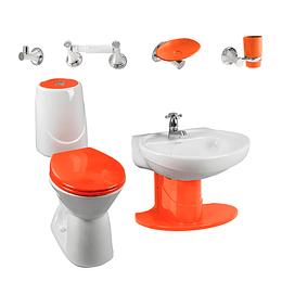 Combo happy II 4.8 con lavamanos de semipedestal naranja - Corona