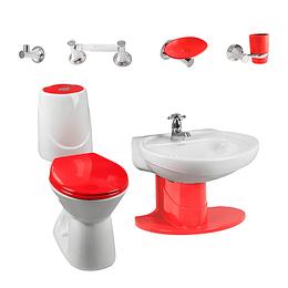 Combo happy II 4.8 con lavamanos de semipedestal rojo - Corona
