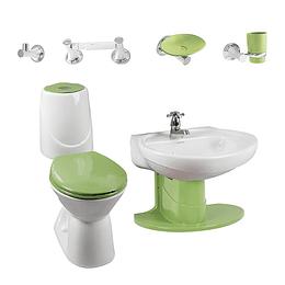 Combo happy II 4.8 con lavamanos de semipedestal verde - Corona