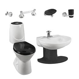 Combo happy II 4.8 con lavamanos de semipedestal negro - Corona