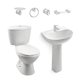 Combo manantial blanco con lavamanos de pedestal - Corona