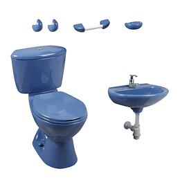 Combo manantial 4.8 azul con lavamanos de pedestal - Corona