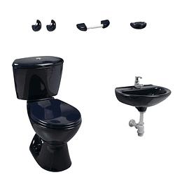 Combo manantial 4.8 azul oscuro con lavamanos de pedestal - Corona