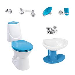 Combo happy home azul marino con lavamanos de semipedestal - Corona