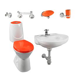 Combo happy home 4.8 naranja con lavamanos de semipedestal - Corona