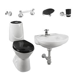 Combo happy home 4.8 negro con lavamanos de semipedestal - Corona