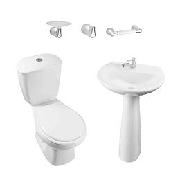 Combo laguna 4.8 balta blanco con lavamanos de pedestal con asiento - Corona