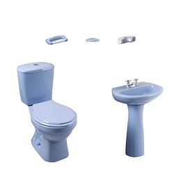 Combo laguna 4.8 balta azul cielo con lavamanos de pedestal con asiento - Corona