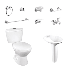 Combo avanti rodano 4.8 blanco con lavamanos de pedestal - Corona
